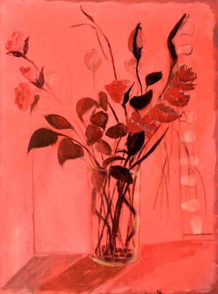 """""""Flowers at Les Nuits de Paris Massage""""<br>Oil on canvas (2012)<br>24 x 18 inches"""