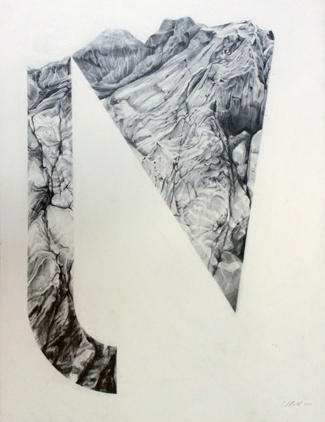 "Christopher Russell <br>""Cut n Slide"" (2013)<br>Graphite on paper, 26.5 x 20.5 inches"