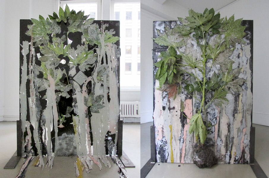 """""""Dark Matter"""" (2013)<br>Plant, resin, paint, glass, ceramic tiles.<br>61 x 44 inches"""