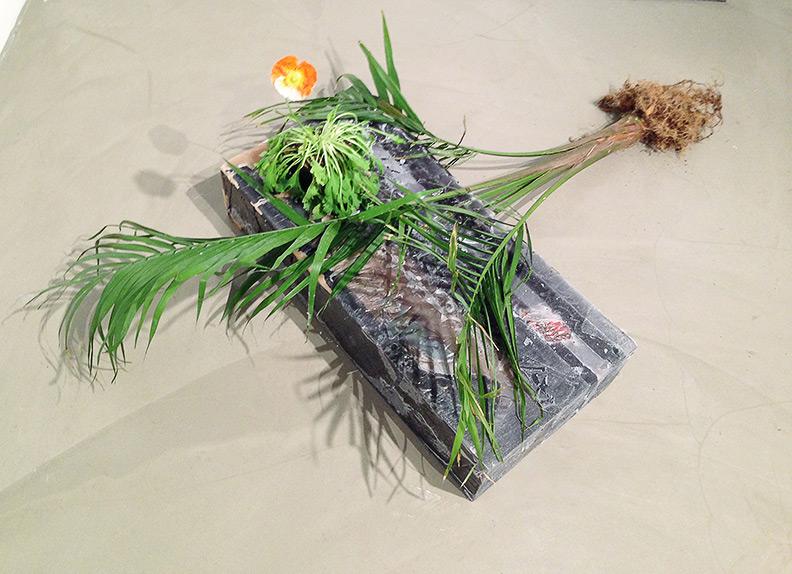 """Lodged Majesty Palm with Poppy (after Beuys)"" (2013)<br> Wax, palm, Kodalith film, mirror, spray paint. <br>57 x 33 x 21 inches"