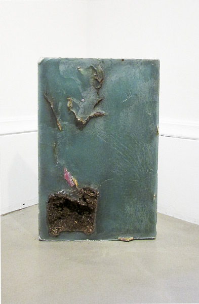 """Cross Section Plant"" (2013)<br>Wax, plants, linoleum<br>18 x 13 inches"