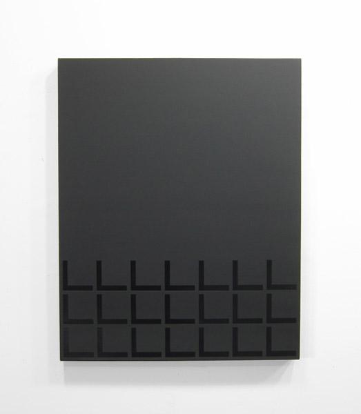 "Matt Mignanelli  ""Low"" (2012) Gloss and matte black enamel on canvas, 28 x 22 inches."