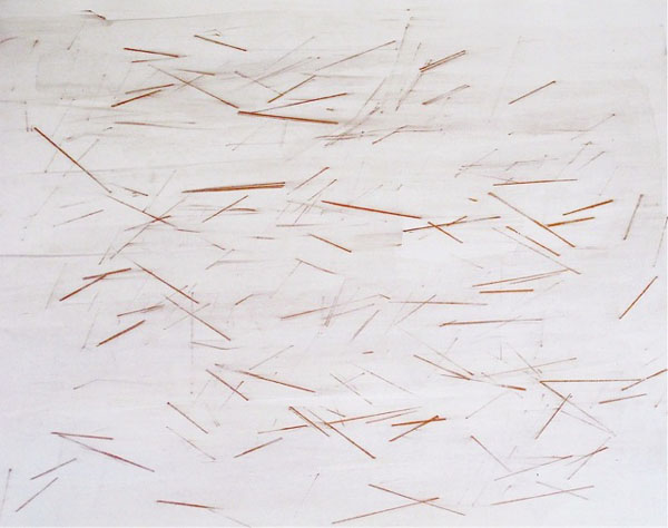 """""""Red River"""" (2011) Metallic copper stick and iridescent watercolor on French paper, 20 x 26 in."""