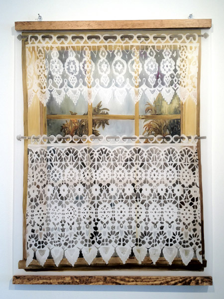 Michelle Blade  Macrame Window (2011) Acrylic on dura-lar, wood, hardware 50 ¼ x 38 ½ inches