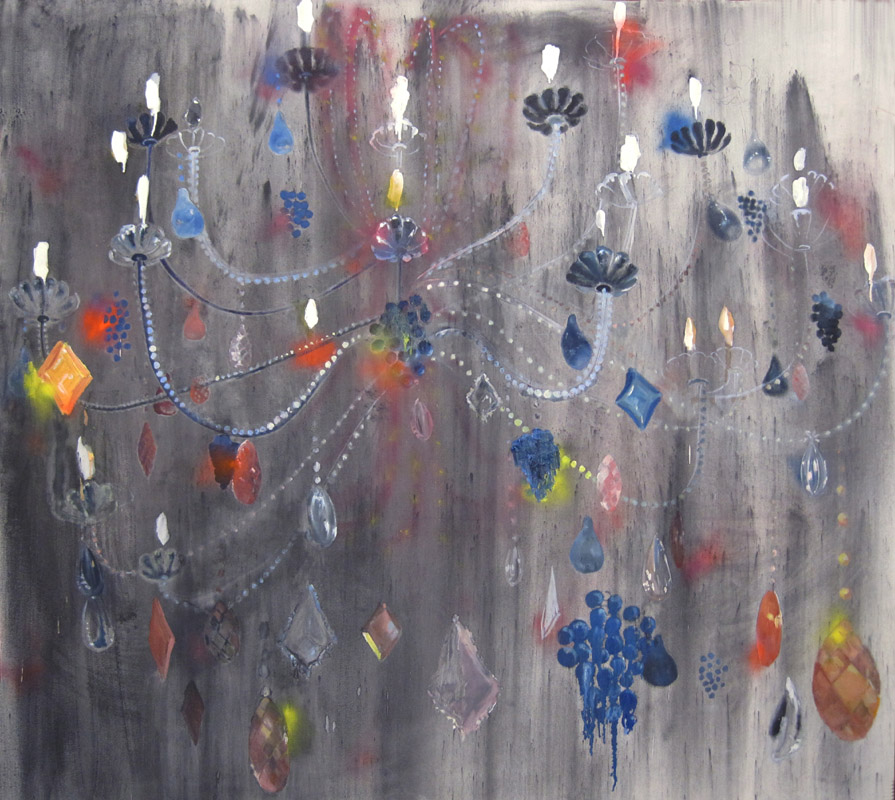 "Sarah Thibault  ""Let a Chandelier Dazzle You"" (2010) Oil, spray paint, graphic powder and chalk on canvas, 72 x 80 in."