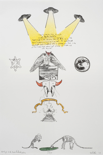 """Dan Attoe  """"Apology to the People of North Dakota"""" (2010) Three-color lithograph. 22 x 15 in. Ed. of 25"""