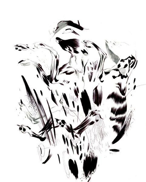 "Shawn Kuruneru  ""Dog Study 8"" (2008) Graphite, ink on paper, 14 x 11 in."