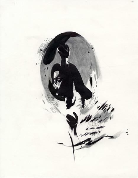 "Shawn Kuruneru  ""Dancing Woman Study 1"" (2008) Graphite, ink on paper, 14 x 11 in."