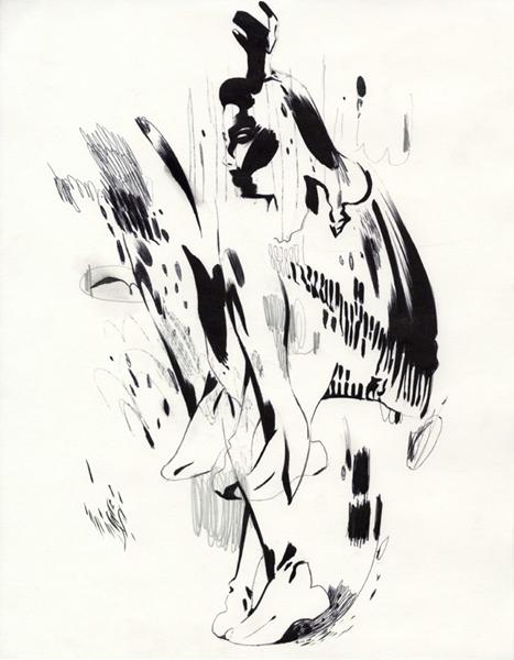 "Shawn Kuruneru  ""Dancing Woman Study 7"" (2008) Graphite, ink on paper, 14 x 11 in."