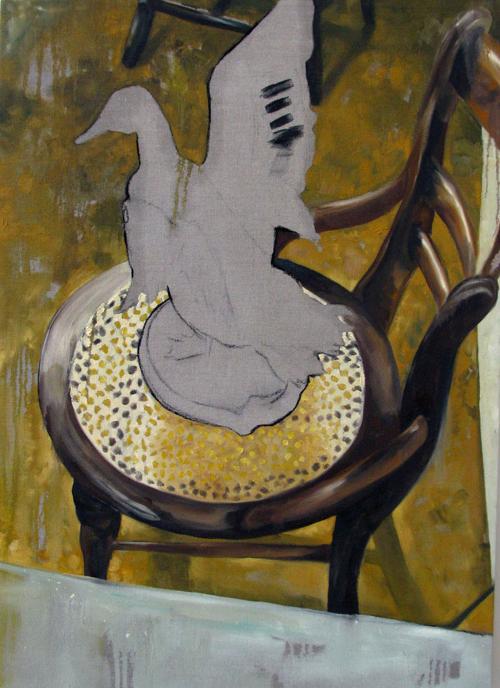 """Jake Ziemann  """"Untitled (Duck)"""" (2010) Oil on linen, 42 x 30 in."""