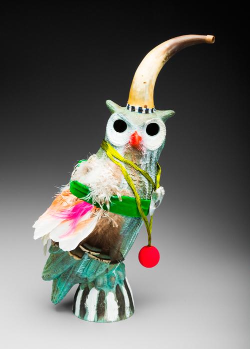 """Elizabeth Dorbad """"Bronze Owl"""" (2010) Cast bronze, mixed media. 18 x 10 x 8 in."""