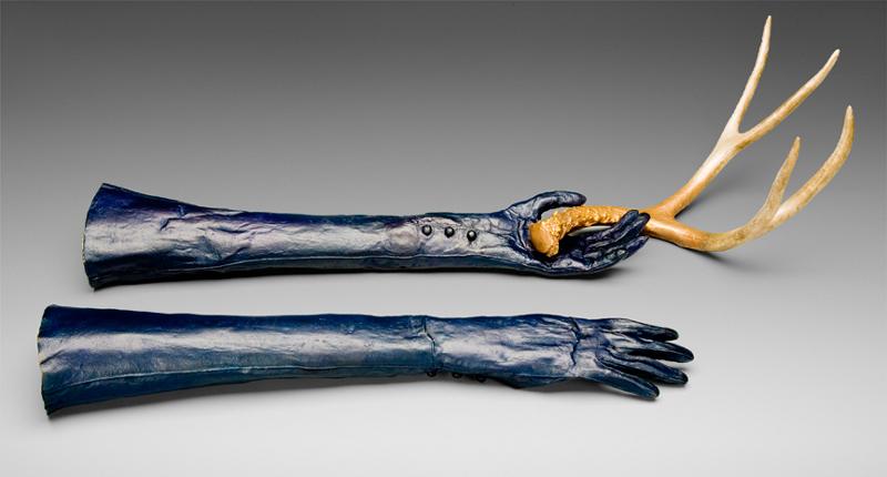 "Elizabeth Dorbad ""Gloves"" (2010) Cast bronze, mixed media. 7 x 26 x 18 in."