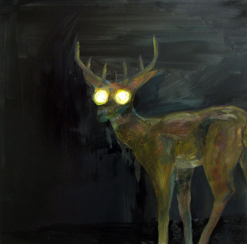 "JakeZiemann ""Nightcam"" (2010) Oil on panel, 24 x 24 in."