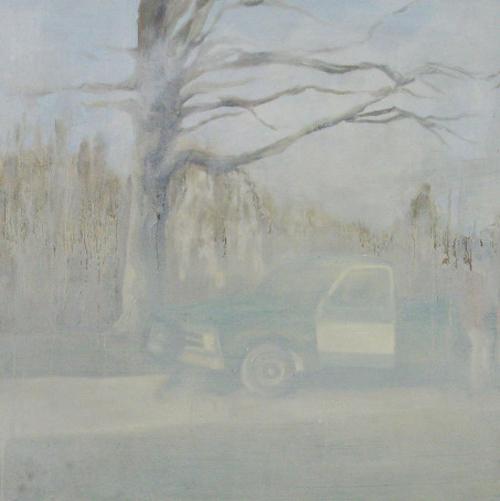 """Jake Ziemann  """"Untitled (truck)"""" (2010) Oil on panel, 24 x 24 in."""