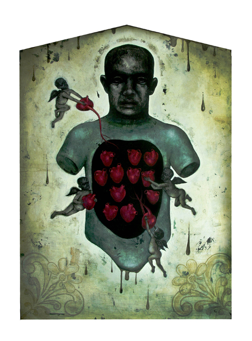 """The Mourning"" (2009) Acrylic, mixed media on wood, 39 x 28 in. Enlarge Image"