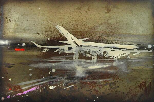 "Alesandro Busci  ""Aero Blanco"" (2008) Enamel on iron, 20 x 28 in."