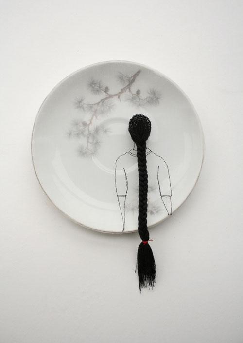 "Diem Chau  ""Pines"" (2008) Porcelain, silk, thread, 6 x 6 in.  Enlarge Image"