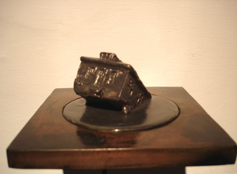 "Danielle Giudici-Wallis ""Lead House"" (2008) Steel, lead, patina, lacquer, 7 x 5.5 x 5.5 in."