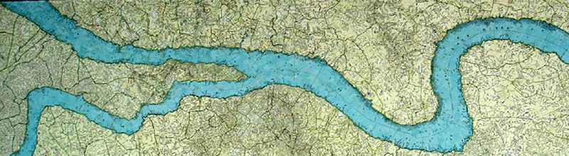 "Francesca Berrini ""Lazy River"" (2009) Torn map collage on canvas, 60 x 12 x 3 in."