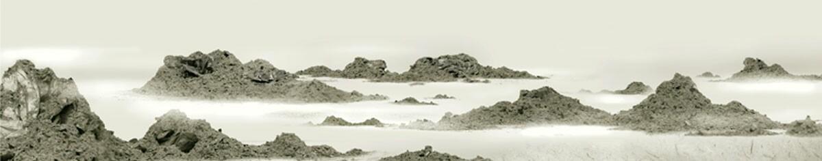 """Wang Tiande  """"Gu Shan 3"""" (diptych - right) (2007) Digital image, xuan paper, pi paper, stone rubbing. 12.5 x 64 in."""