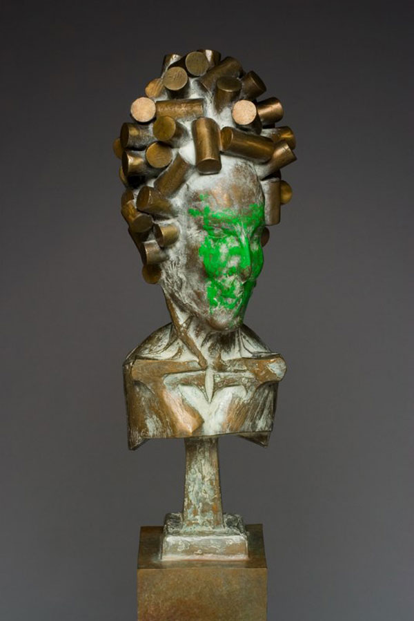 """""""Envious Nobleman in Curls"""" (2006)<br>Steel, patina, 18 x 10 x 10 in."""