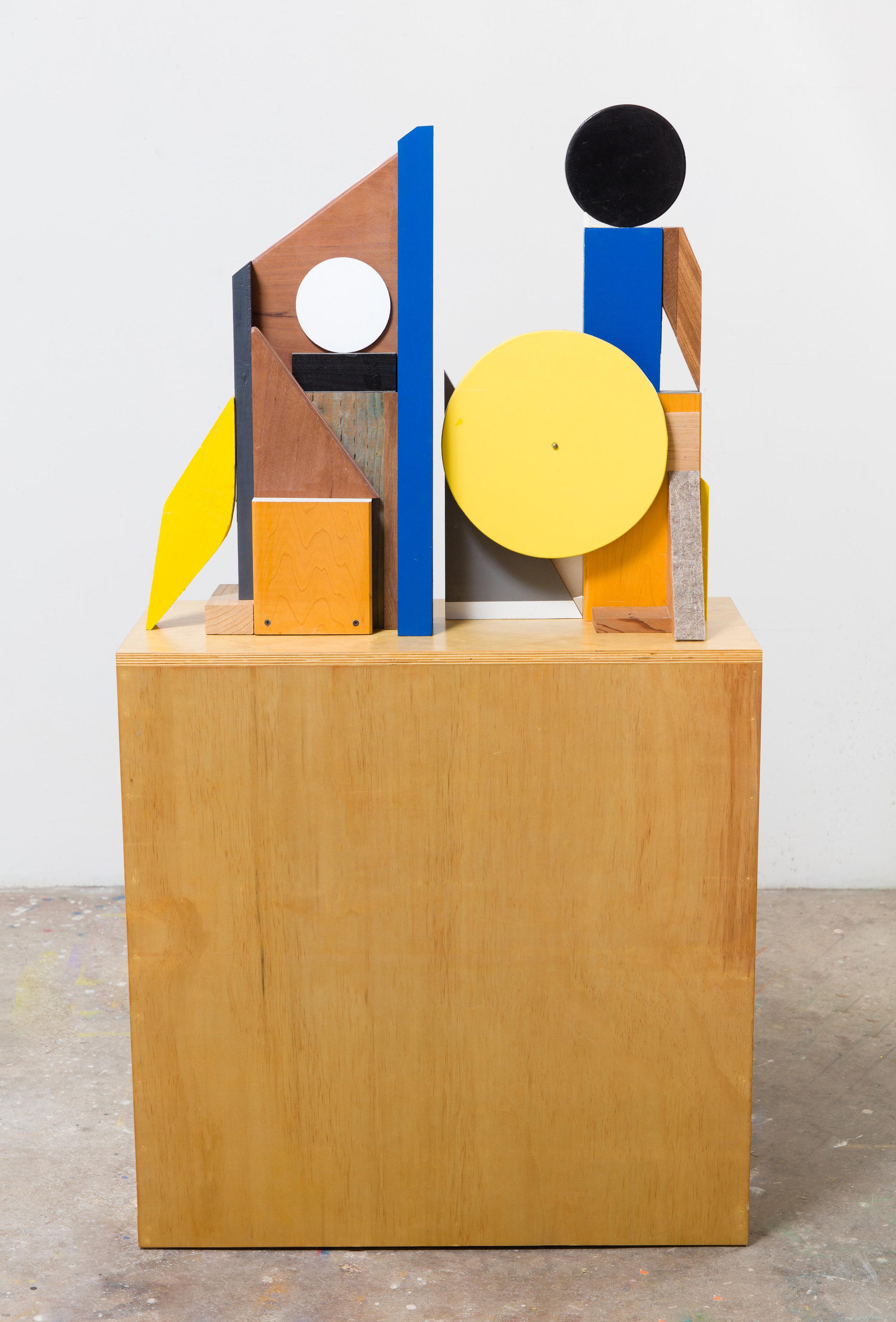 "Antonio Puleo. ""OOO\O"" Wood, plaster, oil, acrylic, flashe, and carpet foam. 58 x 32 x 14in. 2017"