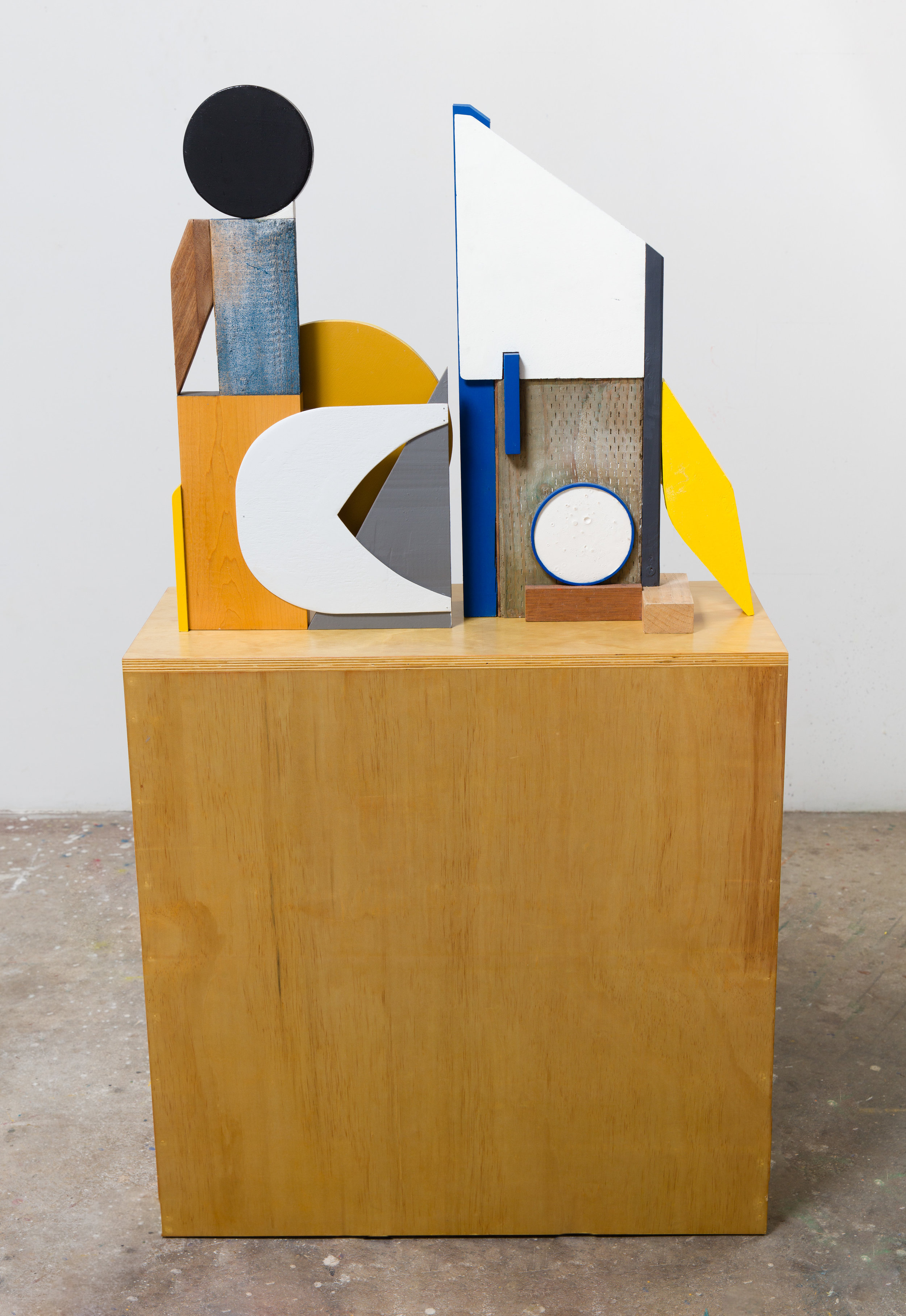 """Antonio Puleo. """"OOO\O"""" Wood, plaster, oil, acrylic, flashe, and carpet foam. 58 x 32 x 14in. 2017.  (View of verso)."""