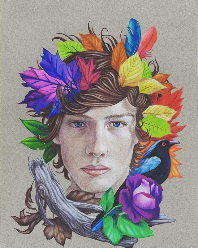 "Join us at Ft. Mason in SF for ArtMarket San Francisco, April 25-28. Featuring new works on paper from Ryan Martin including ""Rainbow Leaves."" Color pencil on paper, 12x9"". Check link in profile for passes to the fair. See you there! @ryanmartinart #artmarketsf"