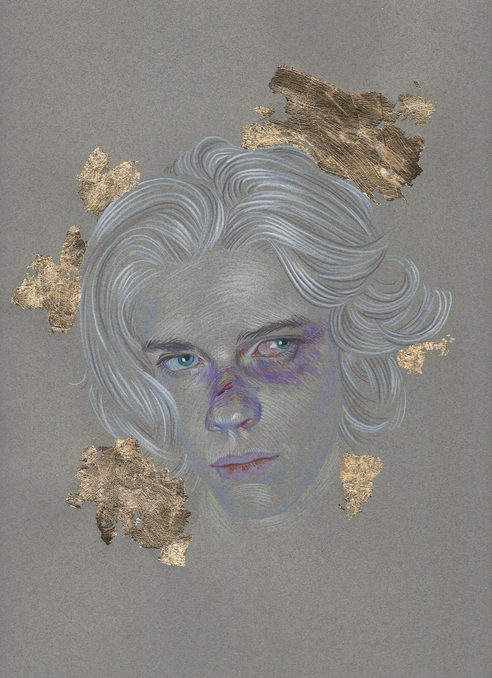Untitled. Color pencil, gold leaf on paper. 12 x 9 inches.