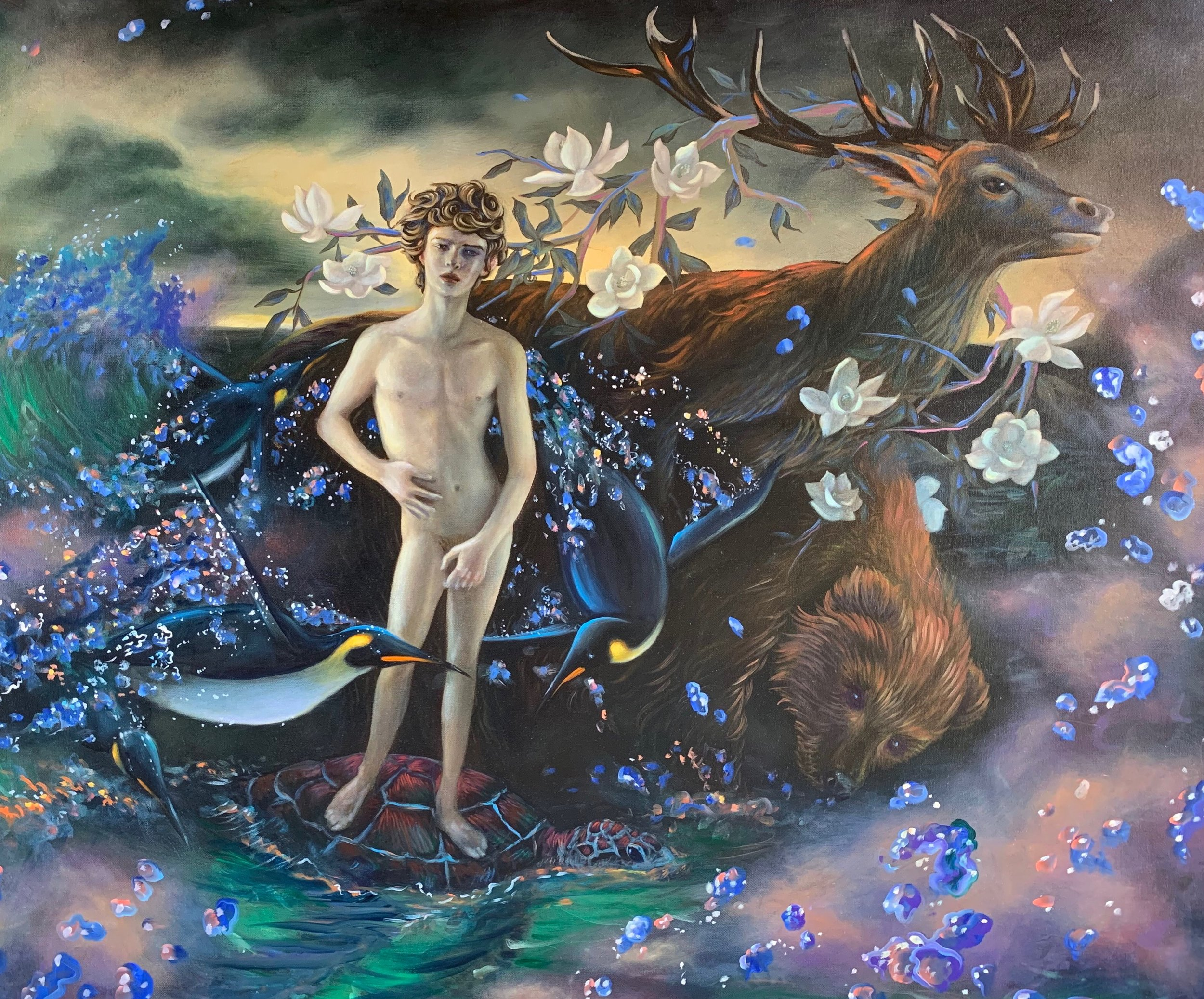 Pacific Antinous. Oil on canvas, 36 x 48 in. 2019