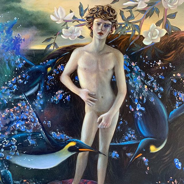 "Join us at Ft. Mason in SF for ArtMarket San Francisco, April 25-28. Featuring new paintings from Ryan Martin including ""Pacific Antinous"" (detail) Oil on canvas, 36x48 in.  Check link in profile for passes to the fair. See you there! @ryanmartinart #artmarketsf"