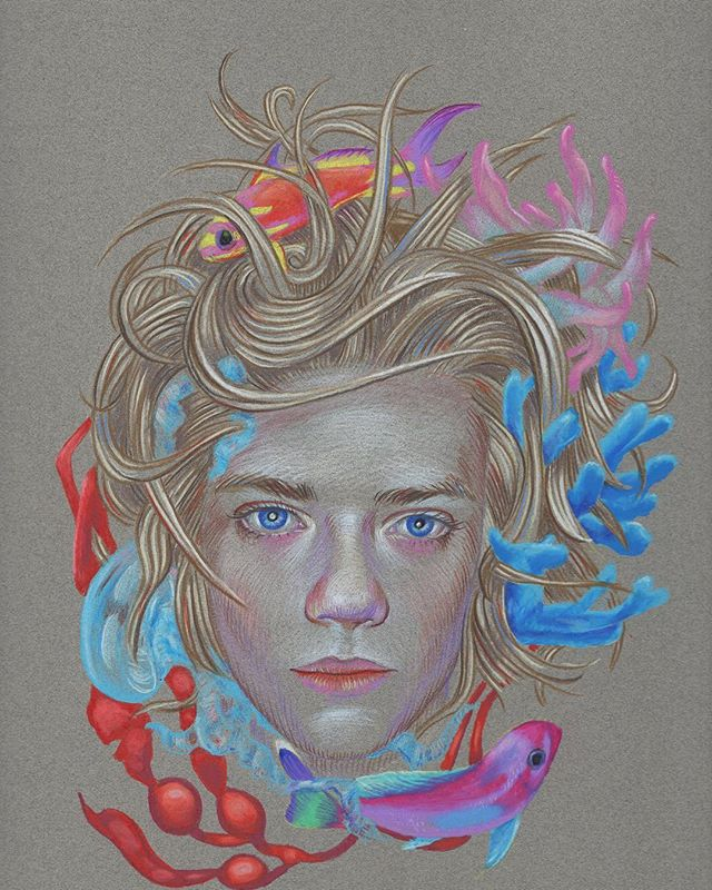 "Join us at Ft. Mason in SF for ArtMarket San Francisco, April 25-28. Featuring new works on paper from Ryan Martin including ""Below Sleeping Waves."" Color pencil on paper, 12x9"". Check link in profile for passes to the fair. See you there! @ryanmartinart #artmarketsf"