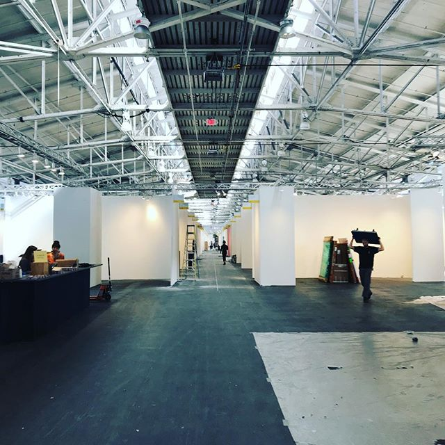 Install day at Art Market SF at Ft. Mason. Fair opens tomorrow!  Check bio for link to download passes. @ryanmartinart #artmarketsf