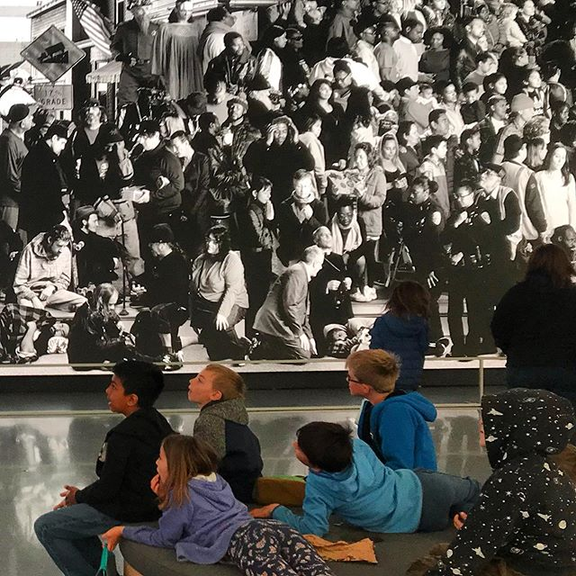 "3rd grade encounters with JR's ""Chronicles of San Francisco,"" one of the most humanistic and moving works exhibited at SFMOMA in quite a while. #jr #thechroniclesofsanfrancisco"