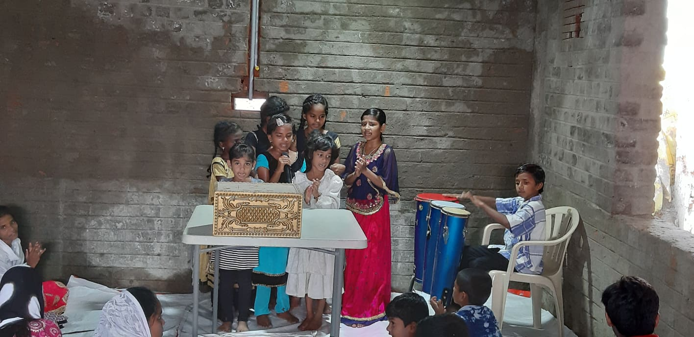 Easter Sunday 2019 - Children Singing - Church still under construction - they still have church - Praise and Worship The Lord.