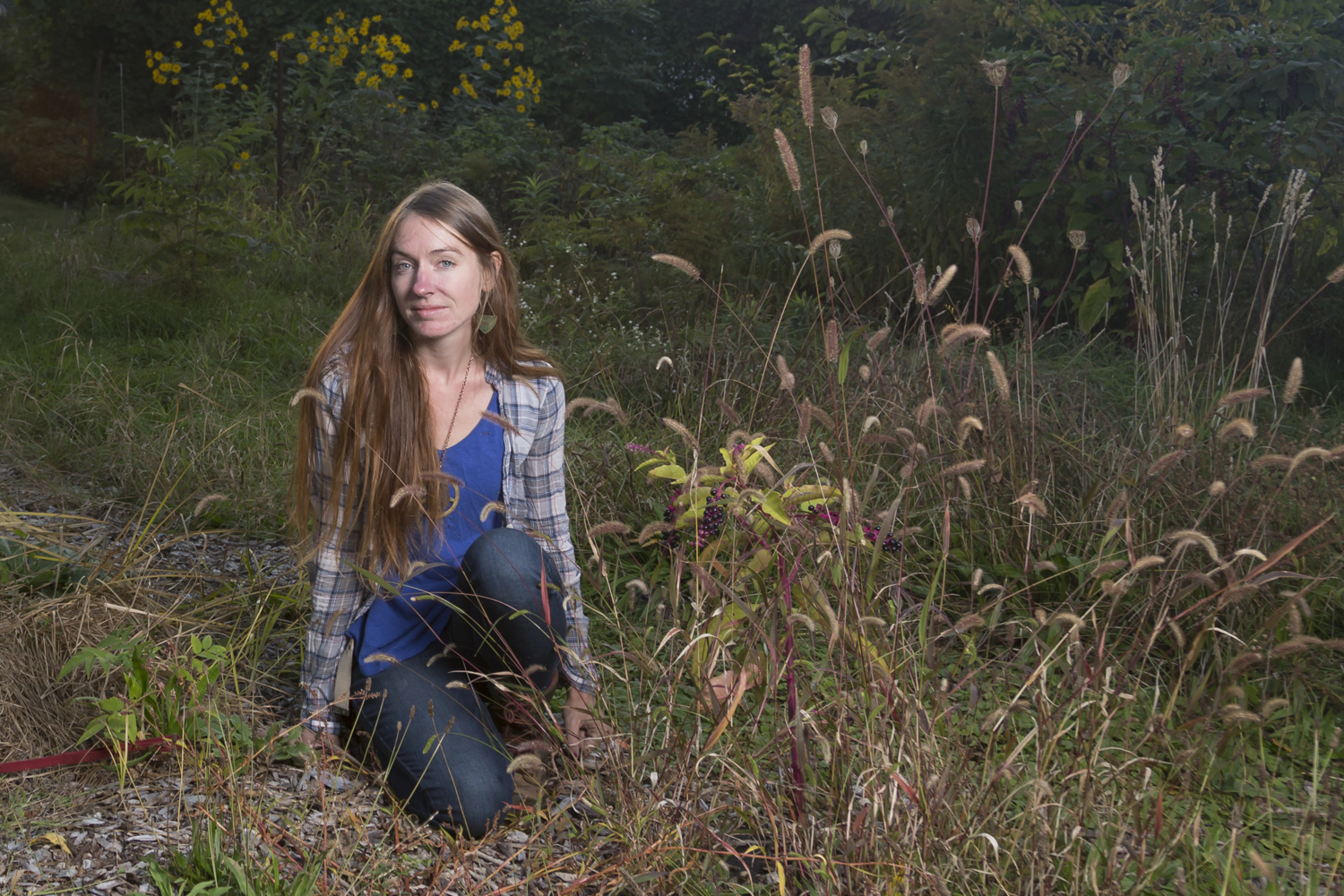 Lisa Barker, Director, Seedfolk City Farm, poses for a portrait in the field behind their urban farm site at the Gandhi Institute, Rochester, N.Y.
