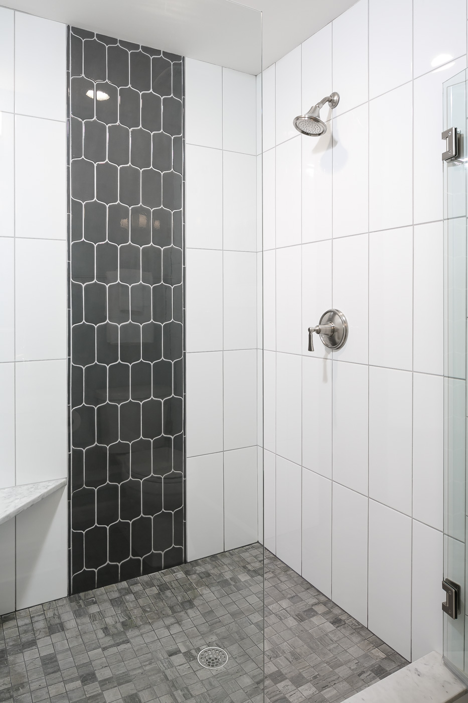 Upstairs ensuite bathroom: spacious shower