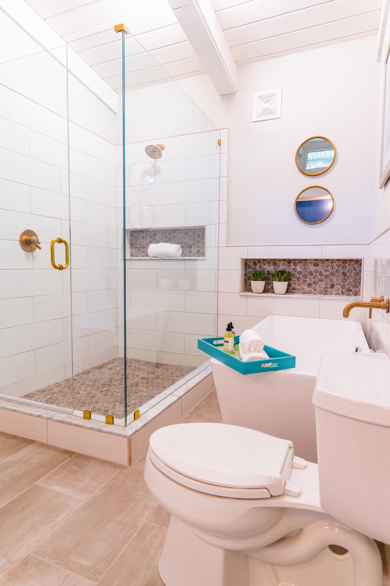Brand-new, custom master bath