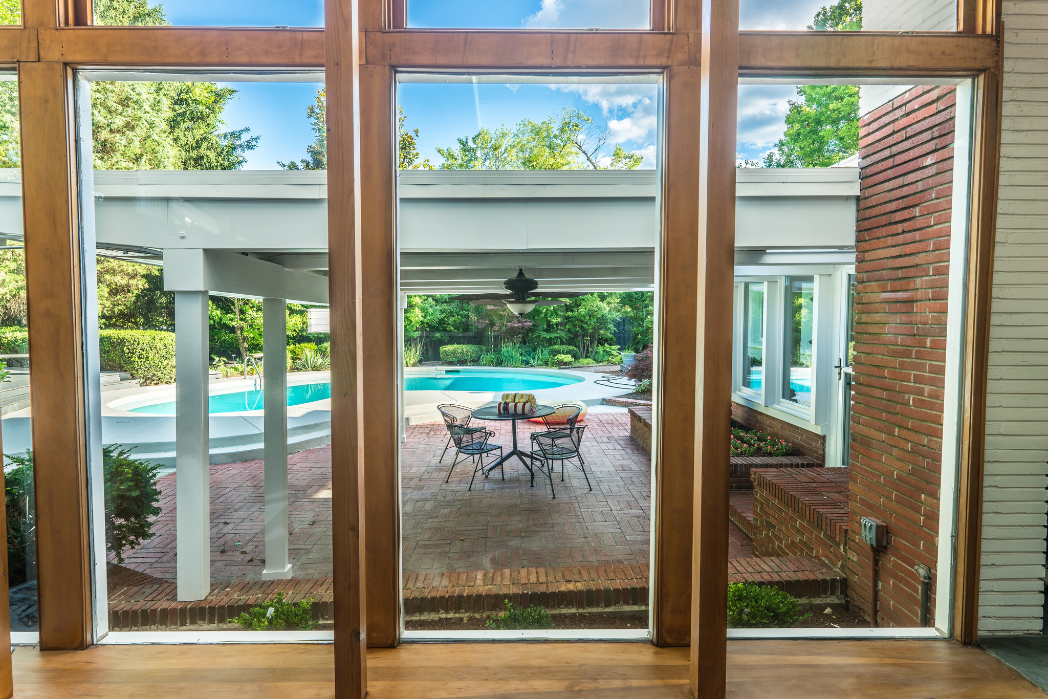 View to the covered patio and pool