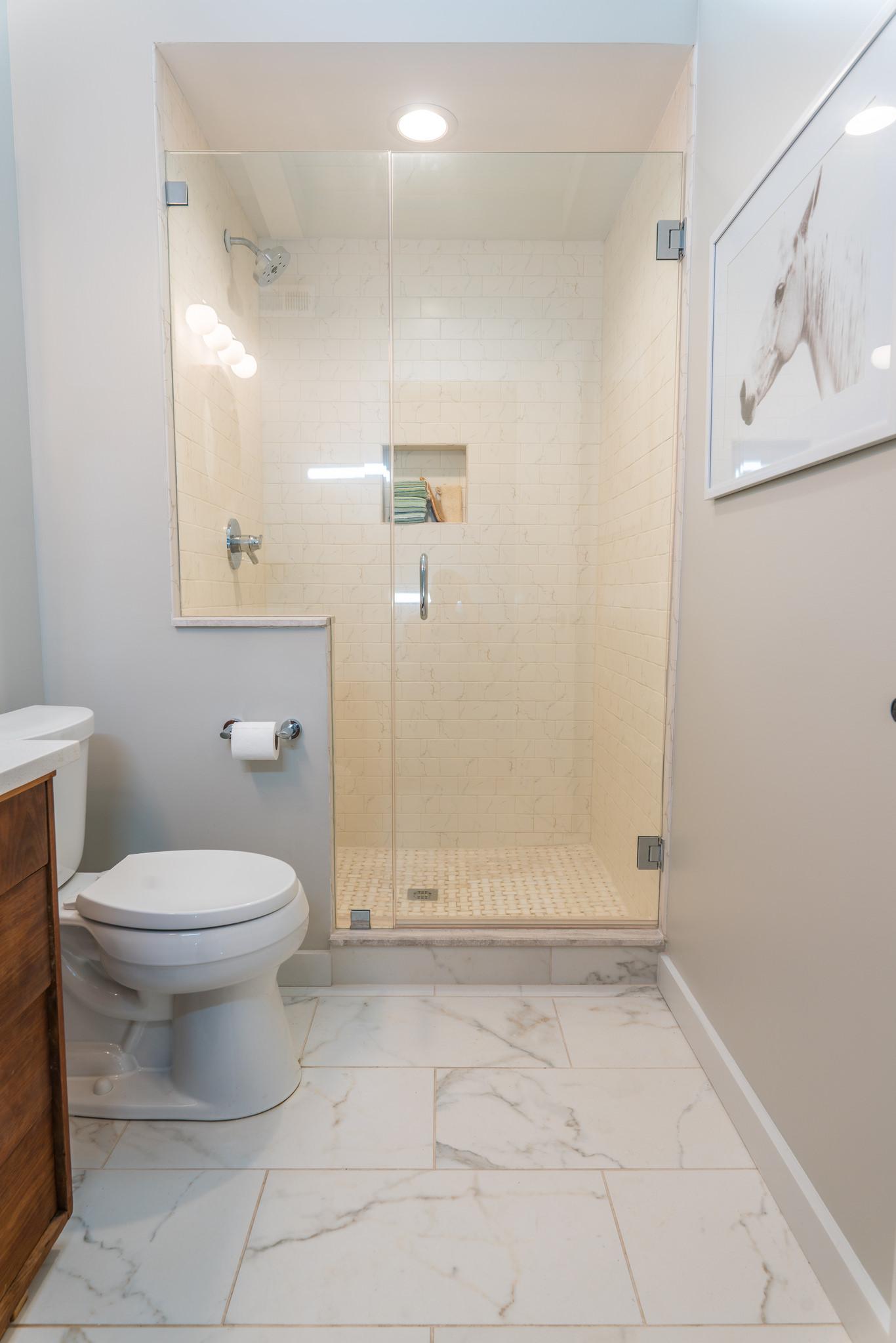 Hall bath with walk-in shower