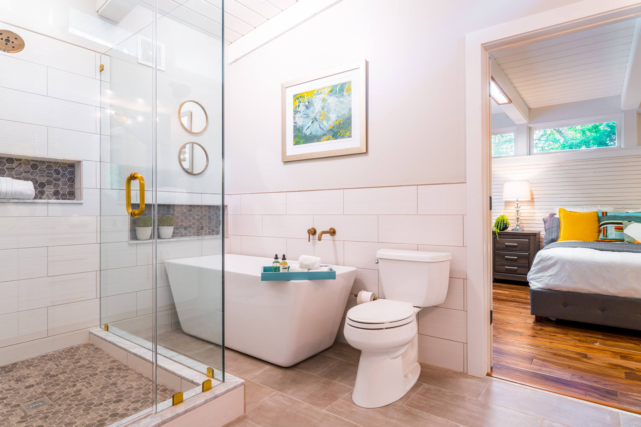 Master bath with large stand-up shower and soaking tub