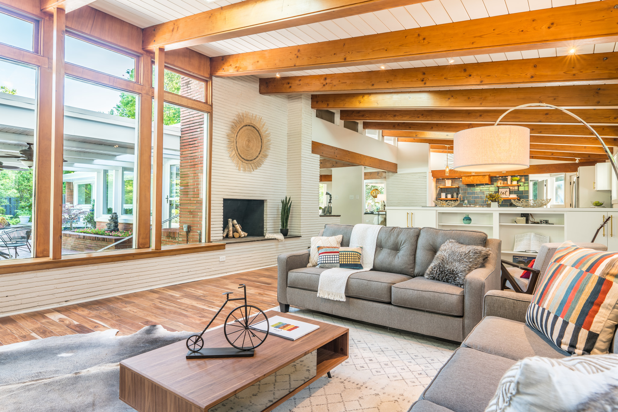Wood-burning fireplace in the living room