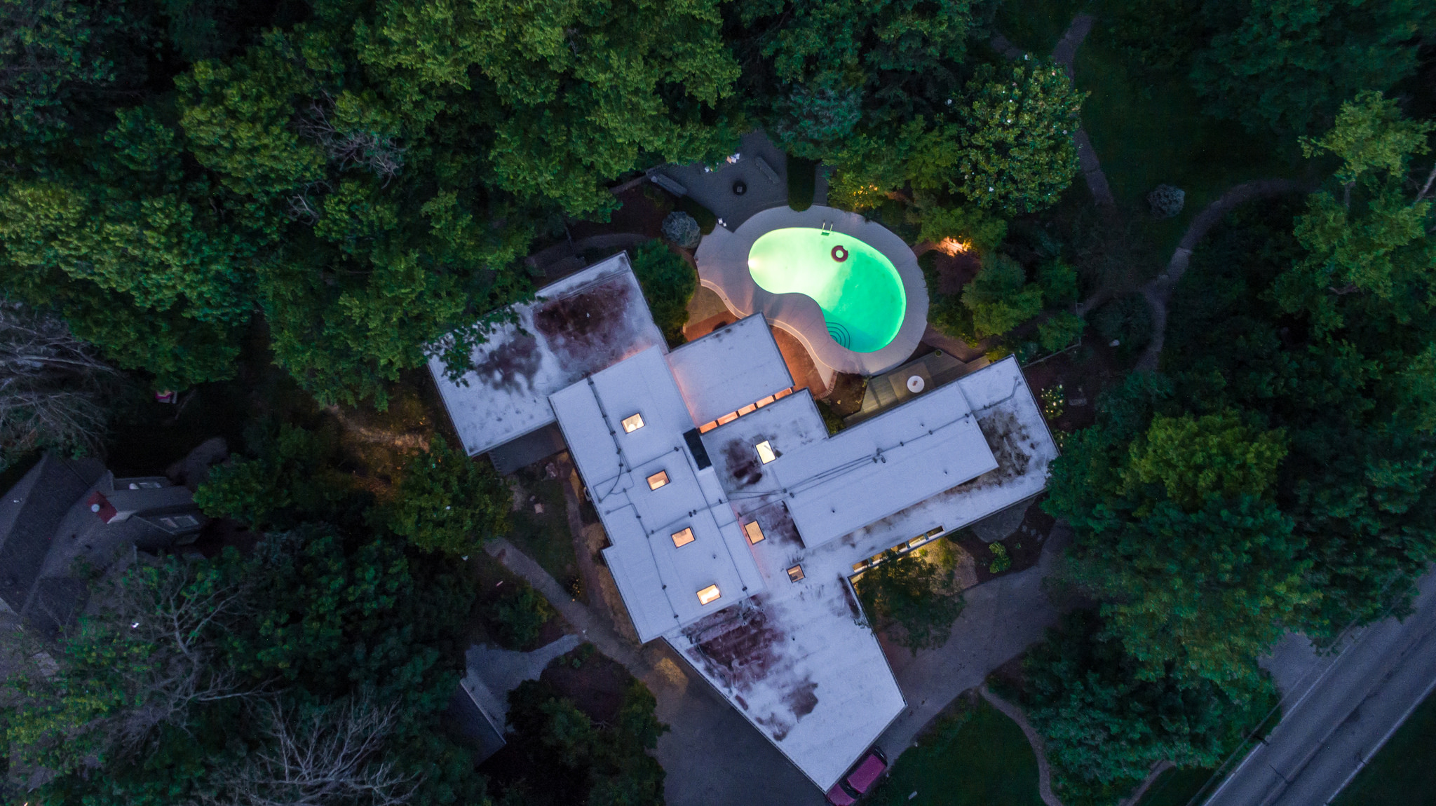 Drone shot of the house at night