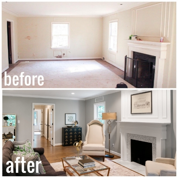 The living room Before and After at our  Canoe Lane  property