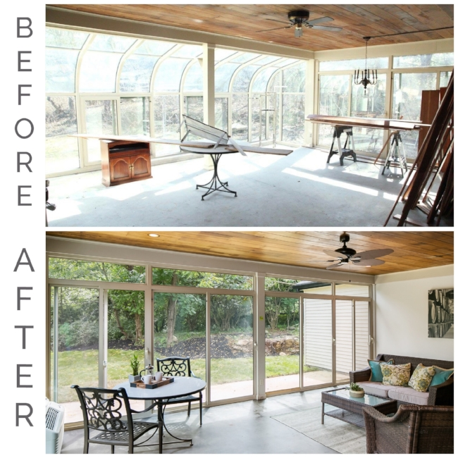 Rear sunroom, showing the master addition on the right side