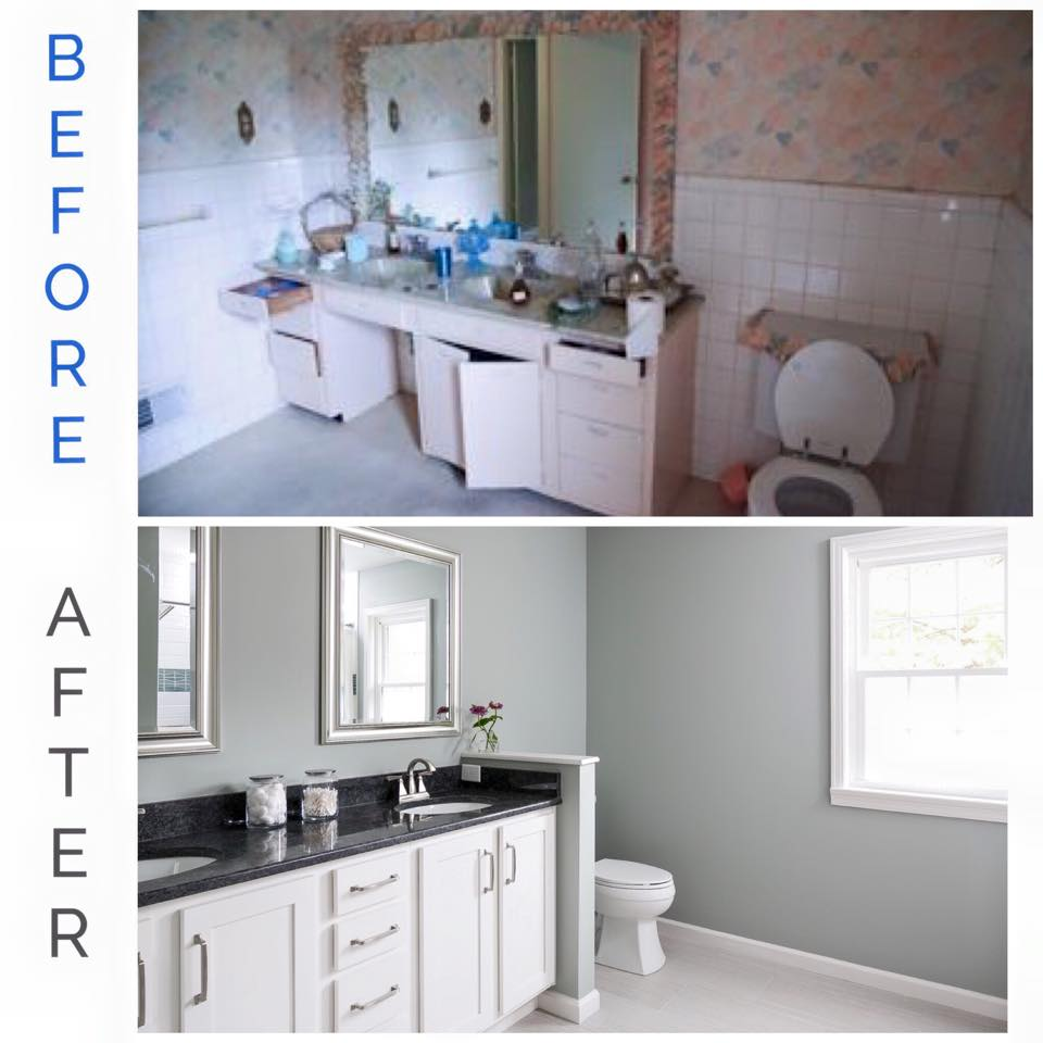 PAINT, A NEW VANITY AND NEW TILE GOES A LONG WAY...