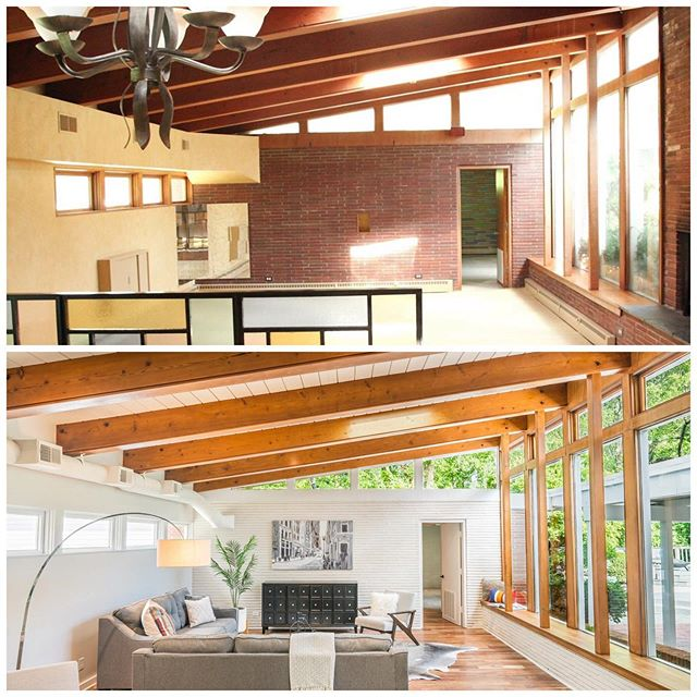 My favorite ❤️ #midcenturymodern #MCM #beforeandafter #transformationtuesday . . . . #house #home #flippinghouses #houseflipping #remodel #renovation #realestate #realestateinvestor #interiordesign #homedecor #restoration #diy #homeimprovement #dwell #designersofinstagram #ighome #louisville #kentucky #currentdesignsituation #interiors4all #girlboss #hgtv #diynetwork