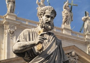 Statue of St Peter outside the Vatican in Rome 'holding the keys to the kingdom of heaven' as Jesus said to him. Who'd have thought!