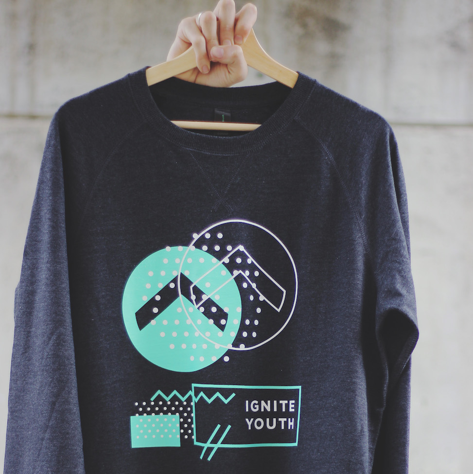 Logo Sweatshirt - Grey/Green Printed on AS ColourBrush Crew
