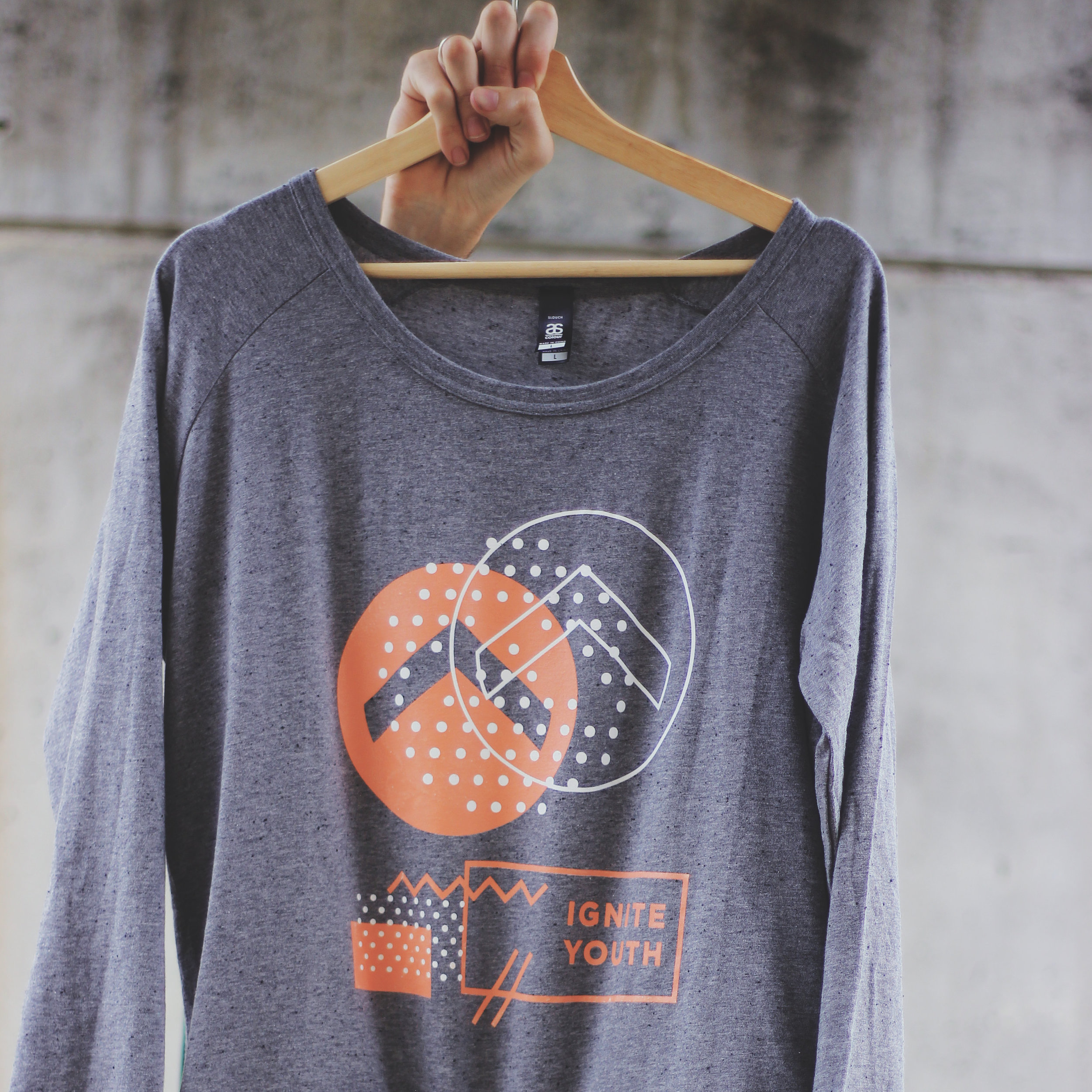 Logo Sweatshirt - Grey/Peach. Printed on AS Colour Brush Crew